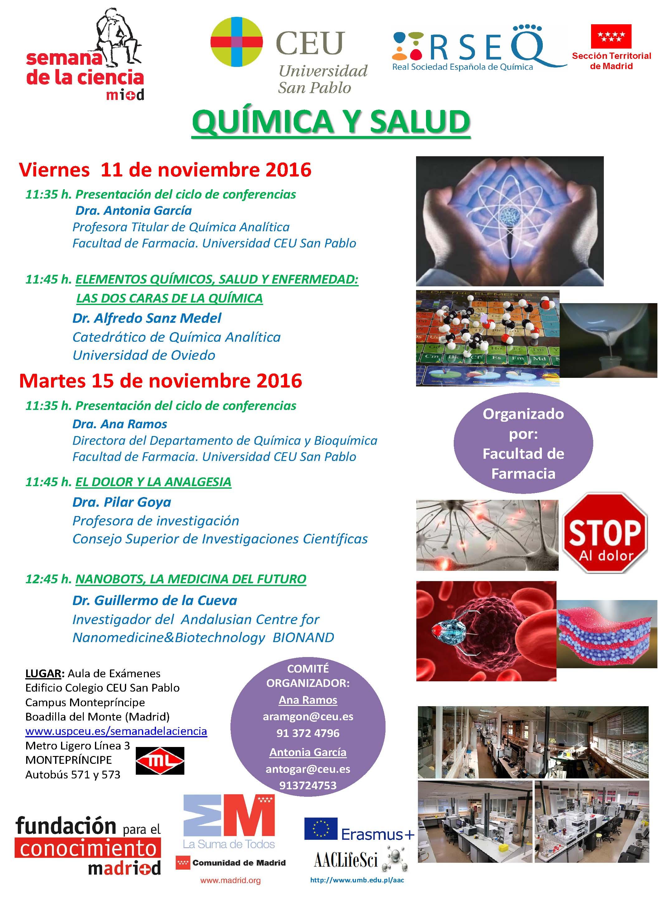 Semana ciencia 2016. QUIMICA Y SALUD